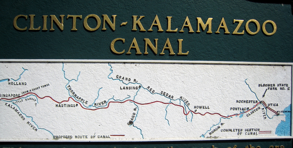View of Clinton-Kalamazoo Canal route map, Michigan Historical Marker in Yates Park, 2020