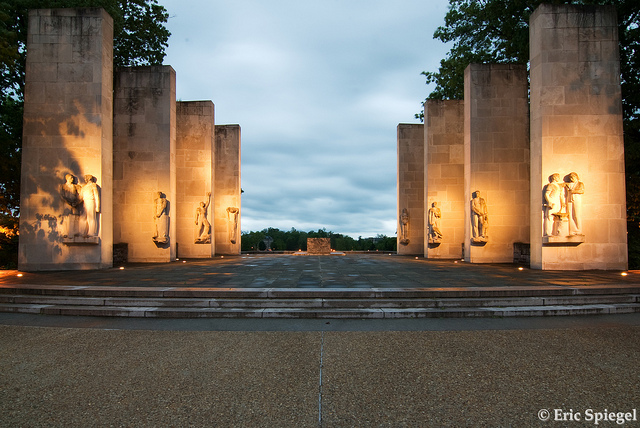 This is an image of the eight pillars on the upper level of the memorial that hold all the names of fallen alumni.