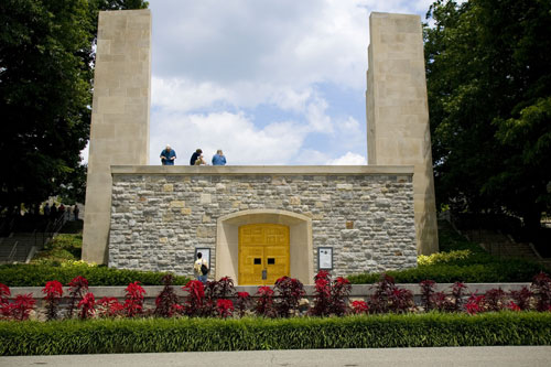 This is an image of the entrance-way to the chapel on the bottom side of the memorial.