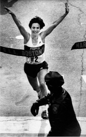 Joan Benoit wins the Boston Marathon; she is the first person to win the Boston and Olympic marathons.