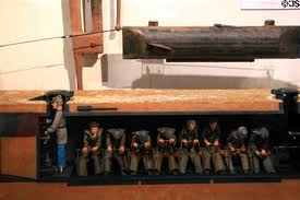 This is a replica of the Hunley to show how little room the sailors inside had