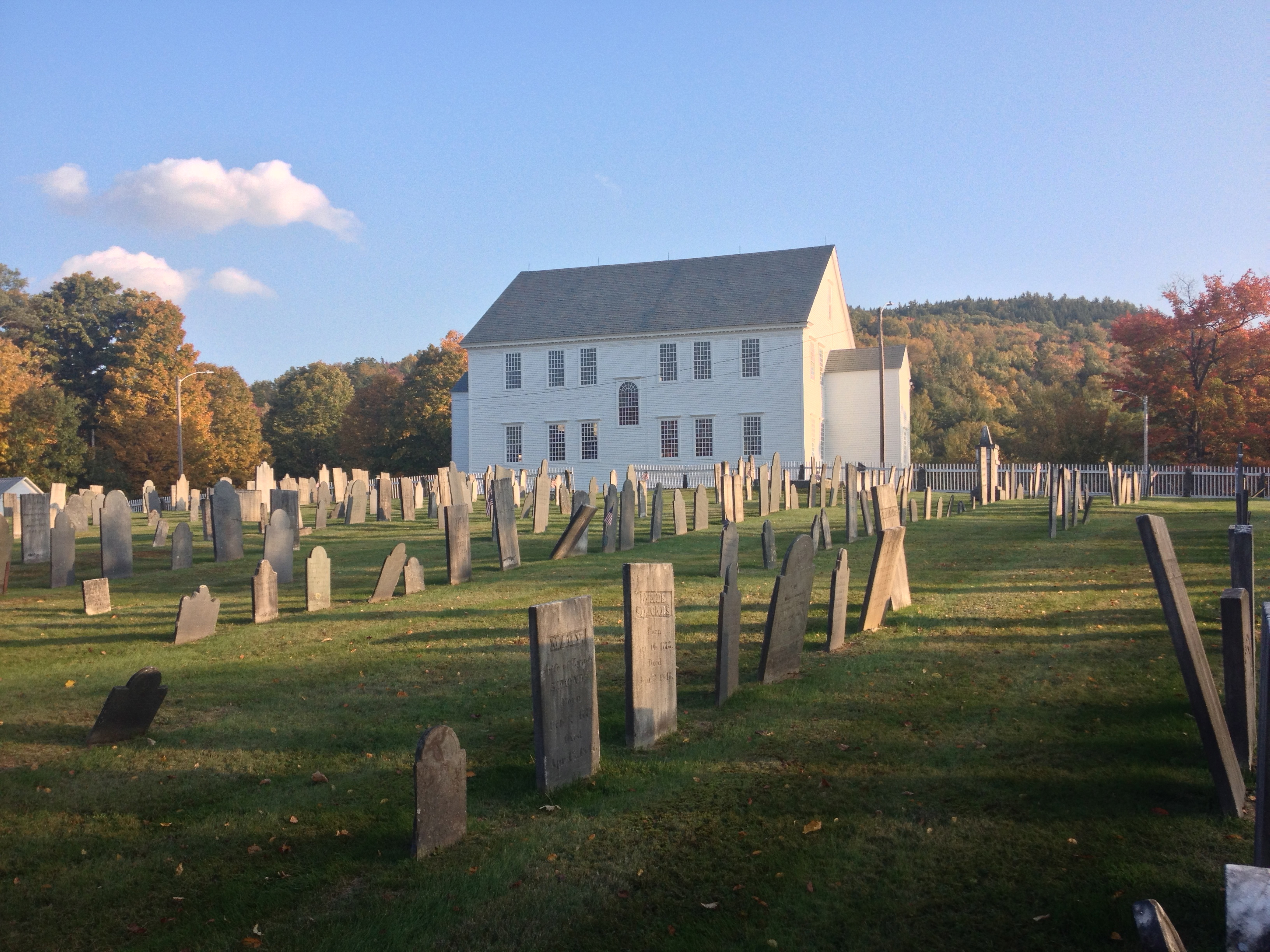 The Rockingham Meeting House with its cemetery in the foreground.