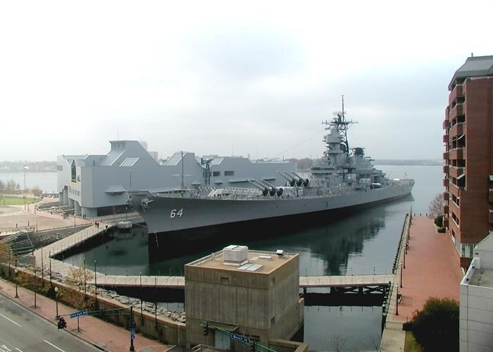 Wisconsin at her berth alongside the Nauticus Museum.  Photo courtesy of Dr. Mark Fulton and USSWisconsin.org.