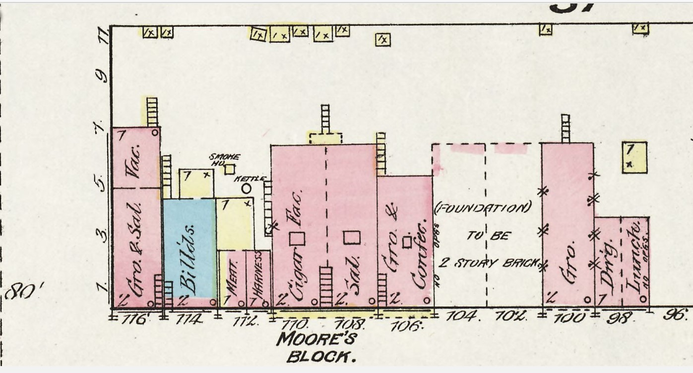 Moore's Block at 108-110 Commercial Street on 1884 Sanborn map (p. 6)