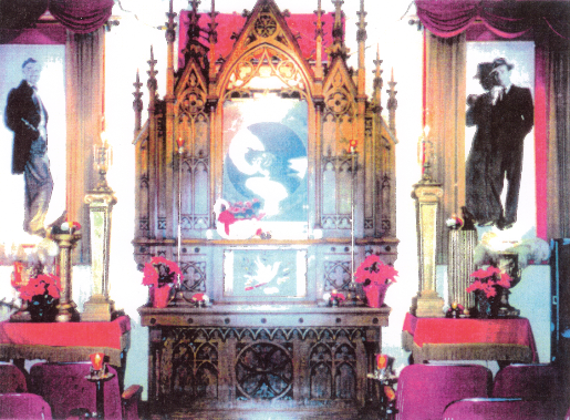 Picture of the Chapel of the Dove which was located in the basement of the Wilma building until it was removed in 1993. The altar can be found on display at Rock'n Rudy's.