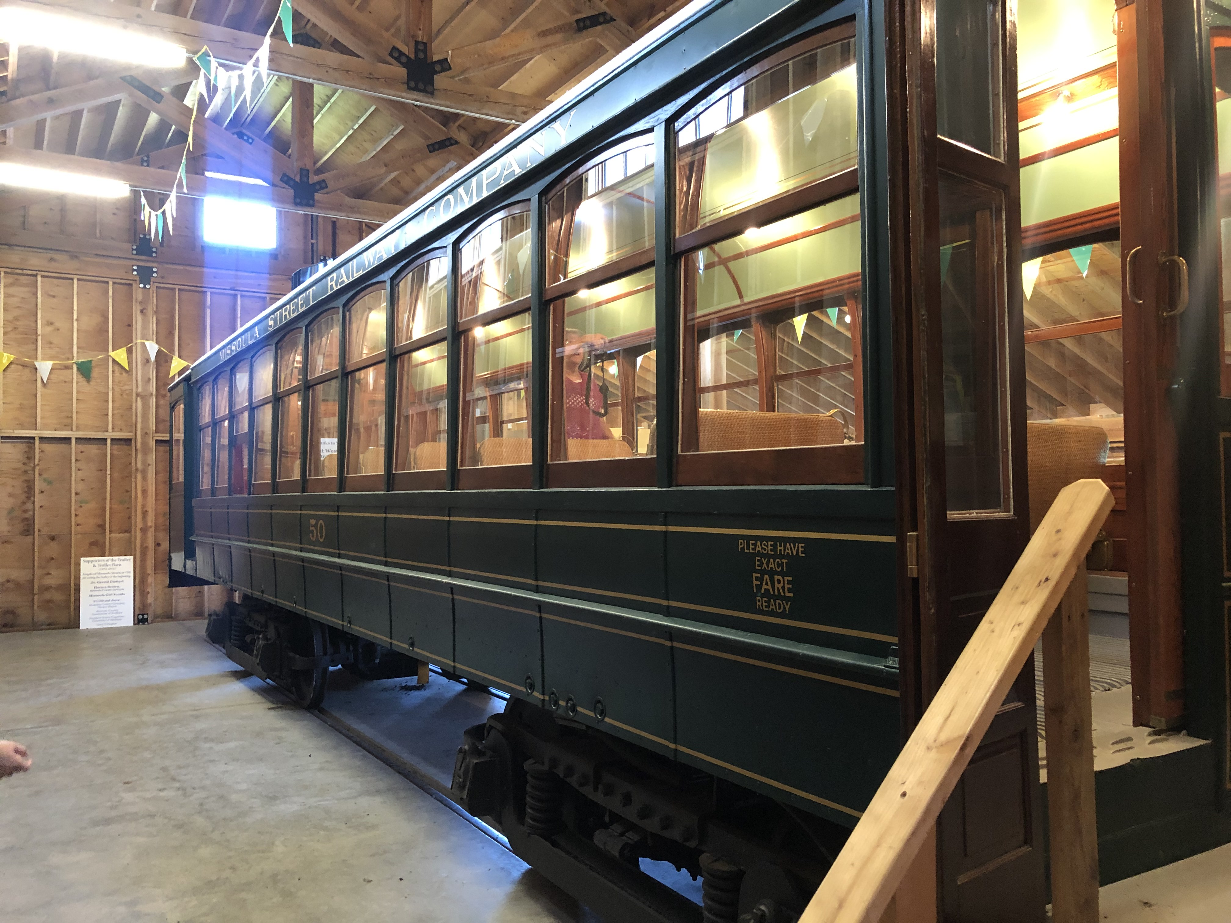 Streetcar No.50, one of the last remaining Missoulain streetcars on display at Fort Missoula.