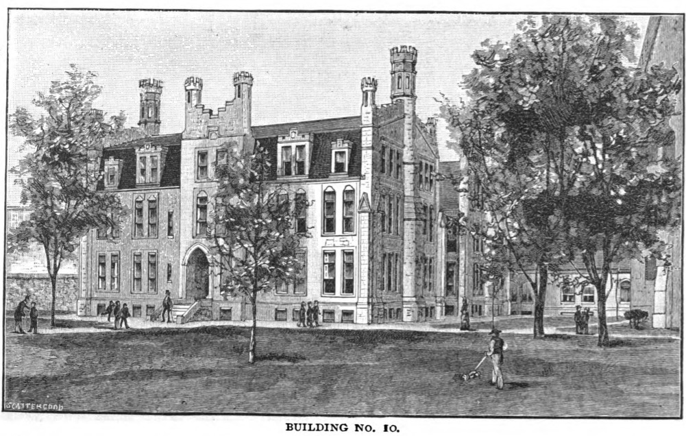 1888 illustration of Middle School Building.