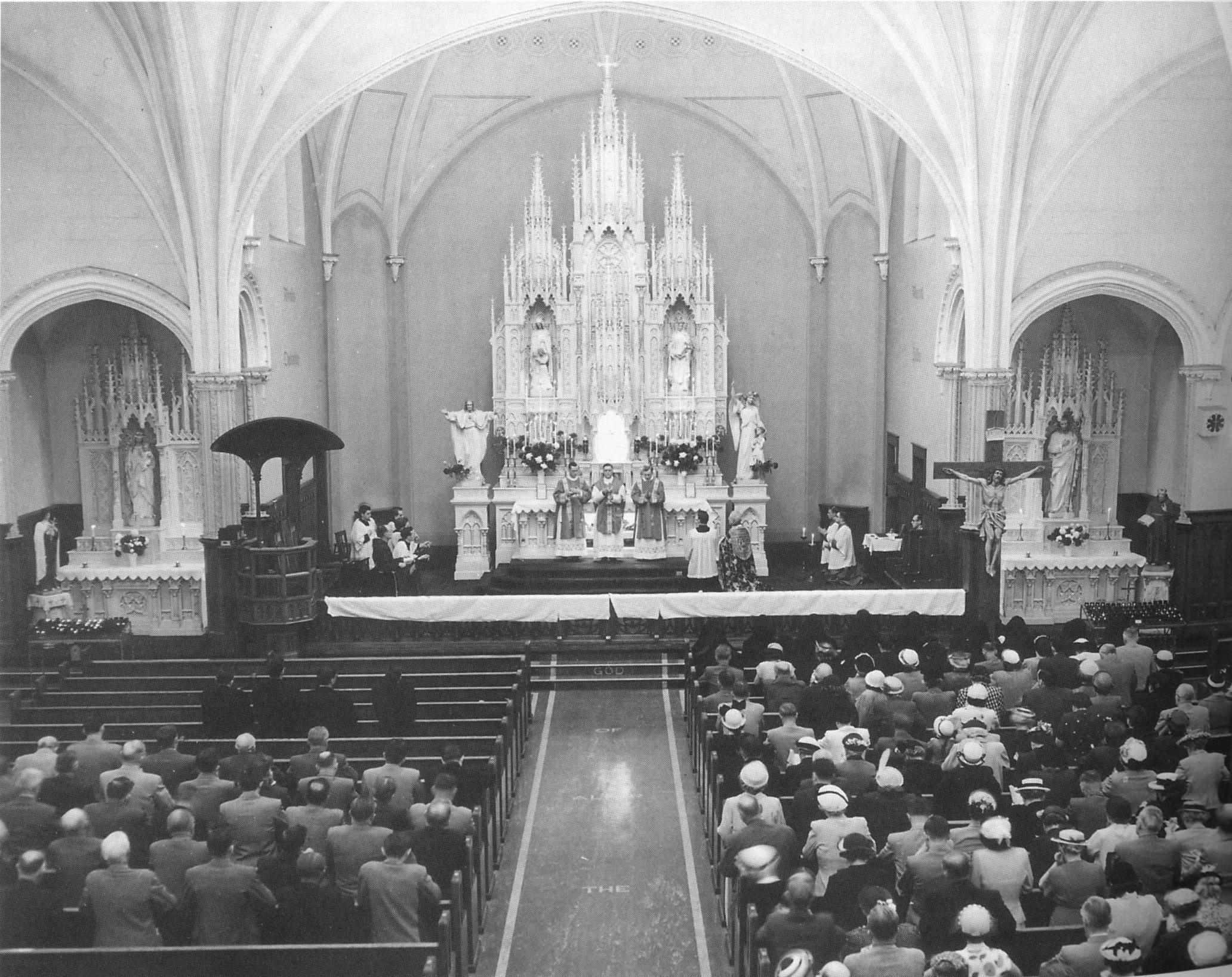 Interior of St. Joseph's Church, c. 1950s.