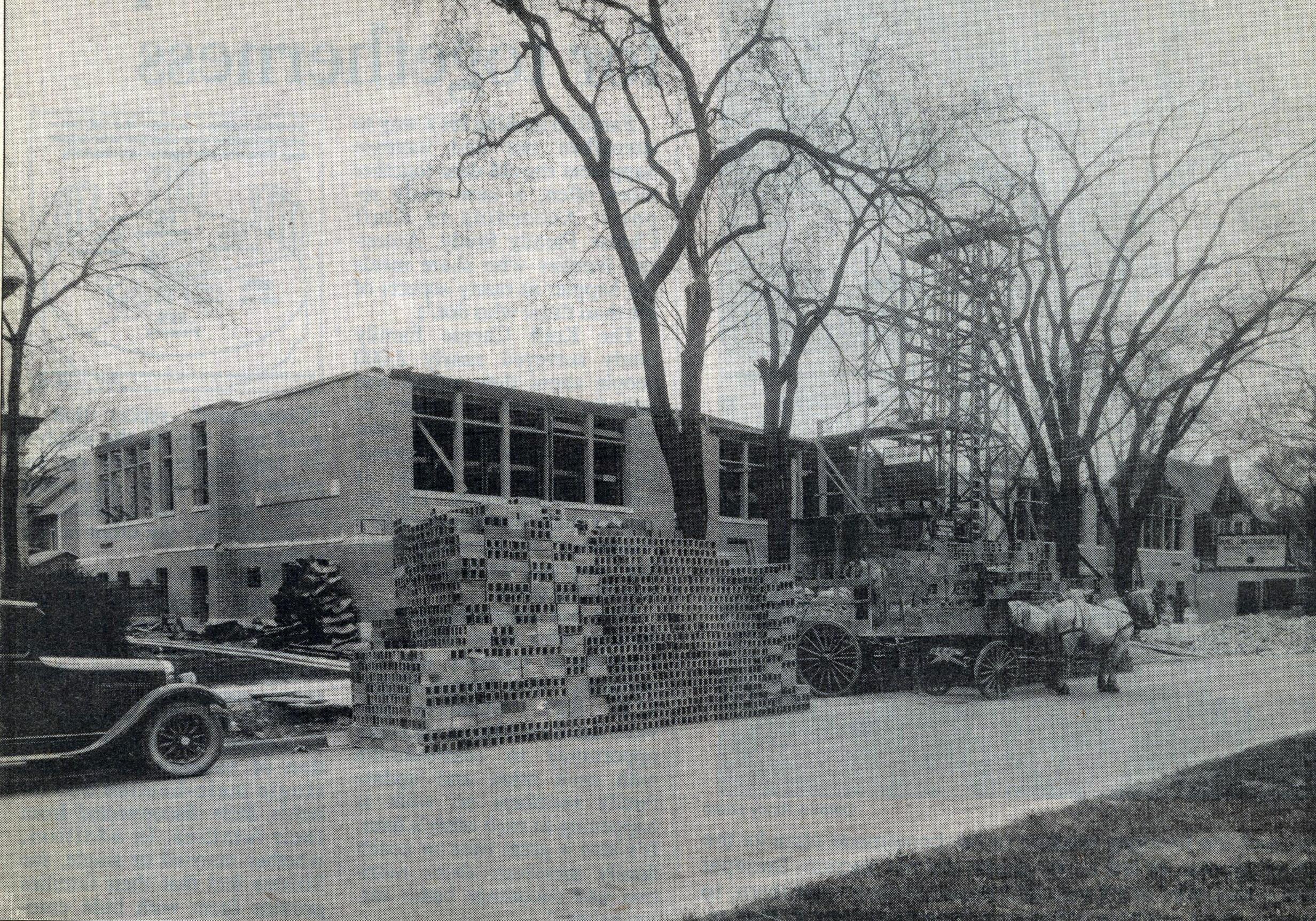 Construction on St. Joseph's School, May 15, 1928.