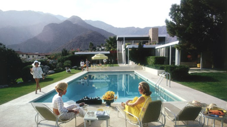 """Slim Aarons' Famous Photo """"Poolside Gossip"""" Taken at the Kaufmann House"""
