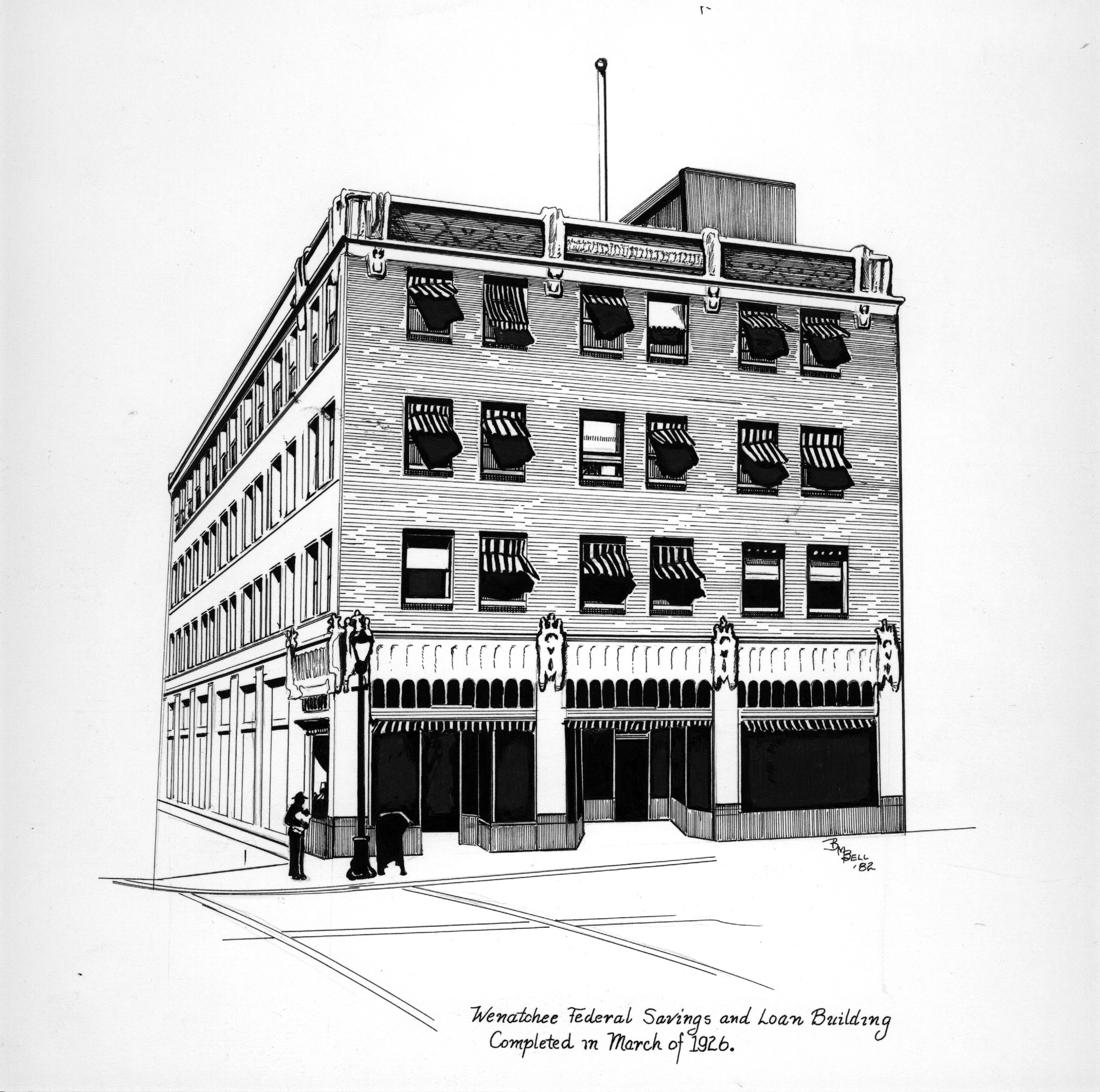 The Wenatchee Federal Savings & Loan Building illustration by Betty Bell.