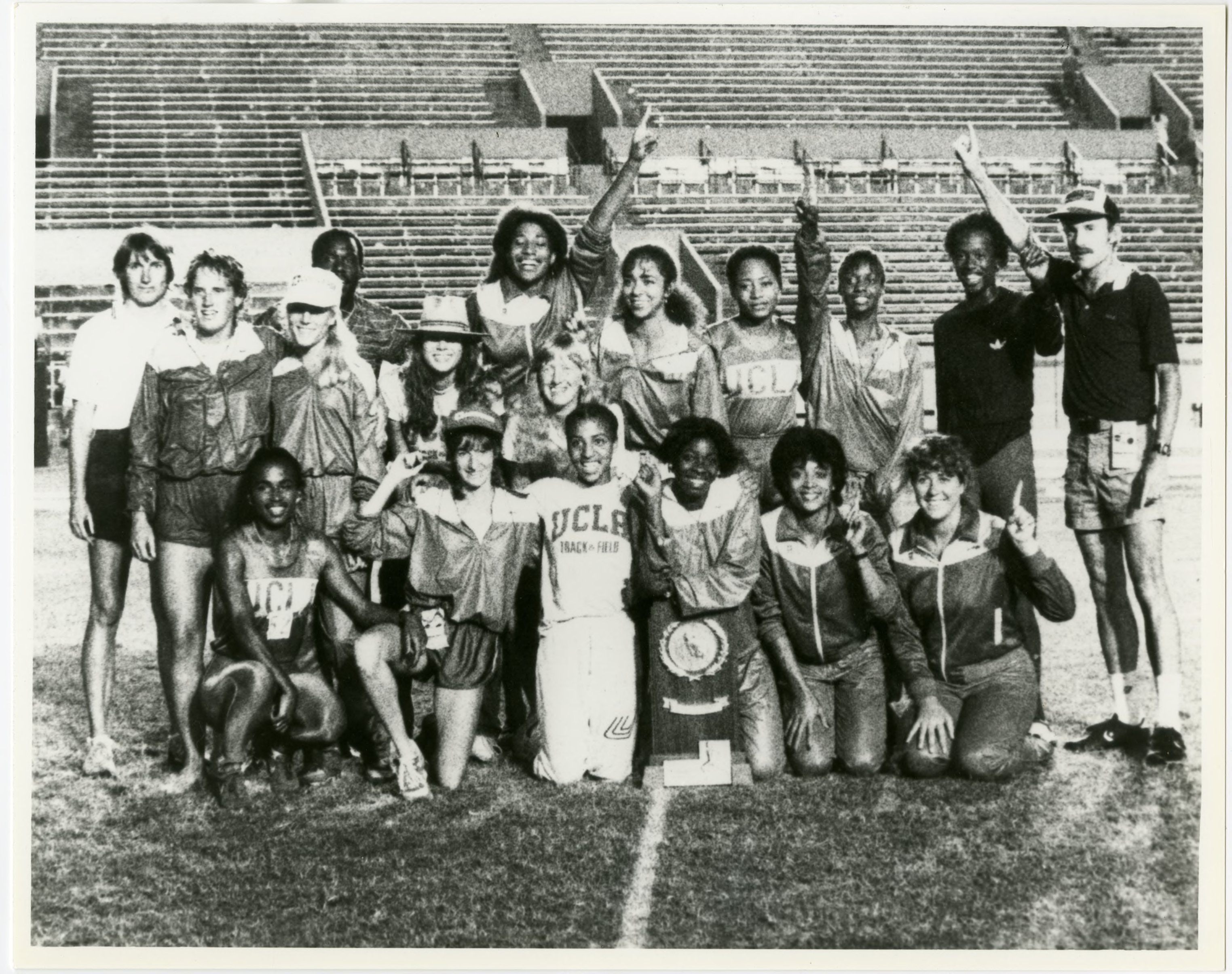UCLA Library University archives captures Track and Field after NCAA championship in 1983, this team includes Senior Florence Griffith ( second from right first row) who by this time established her own personal best collegiate record in 400 meter dash.