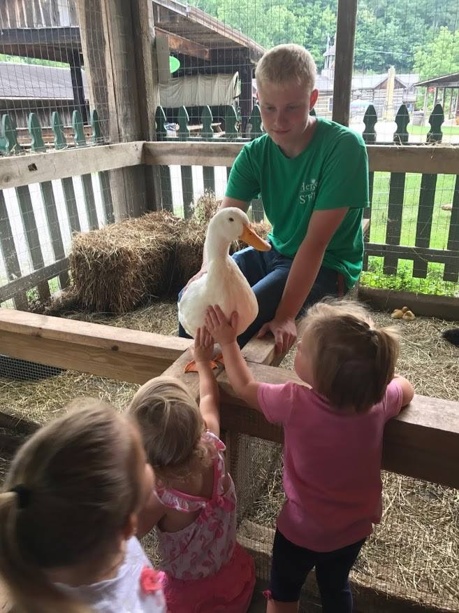 Visitors pet Moby Duck