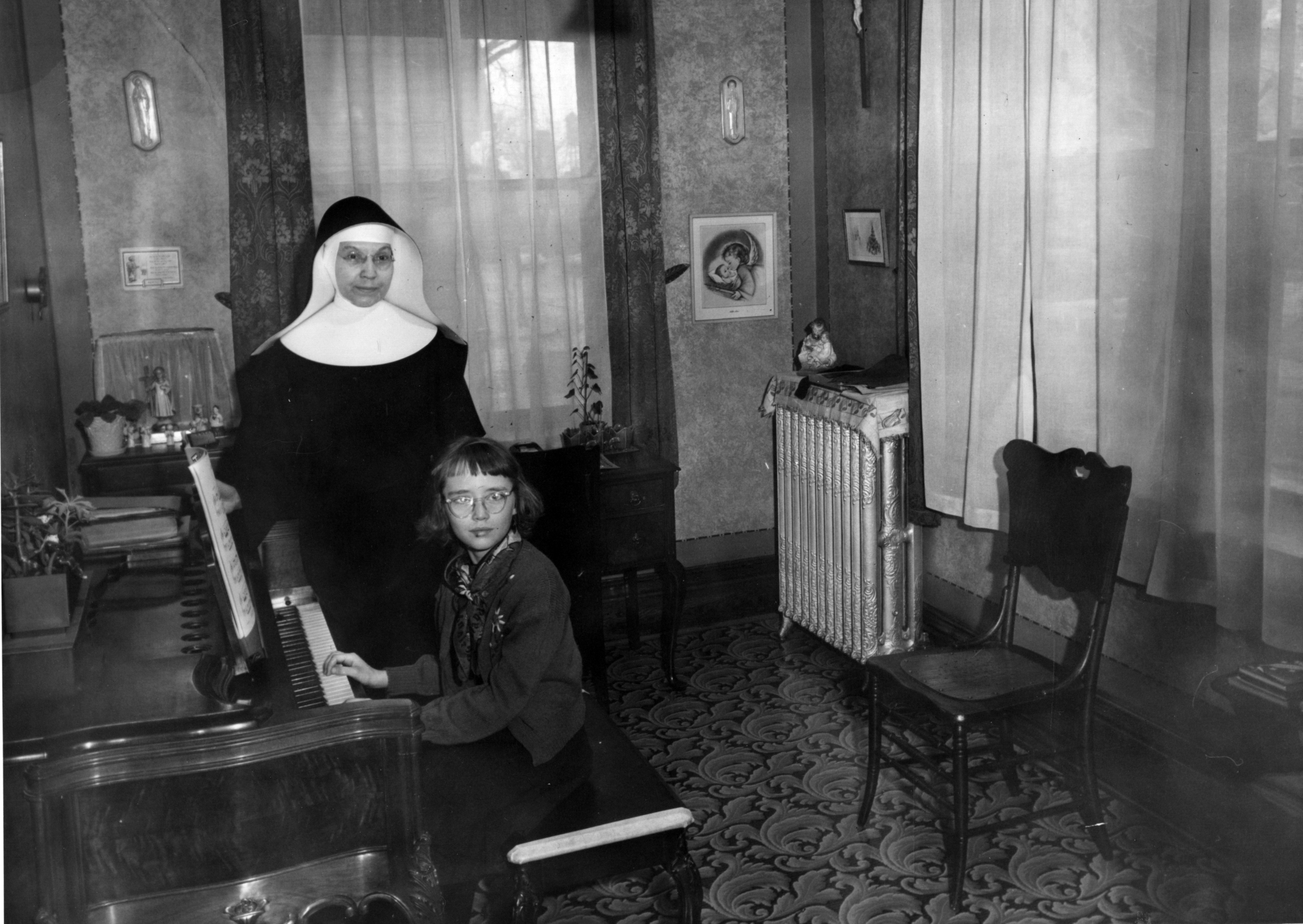 Sister Felicitas Dreiling and a music pupil at St. Mary's convent, Fond du Lac, c. 1950.