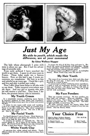 """Advertisement featuring """"eternal flapper"""" Edna Wallace Hopper and the products she endorsed. c 1925"""