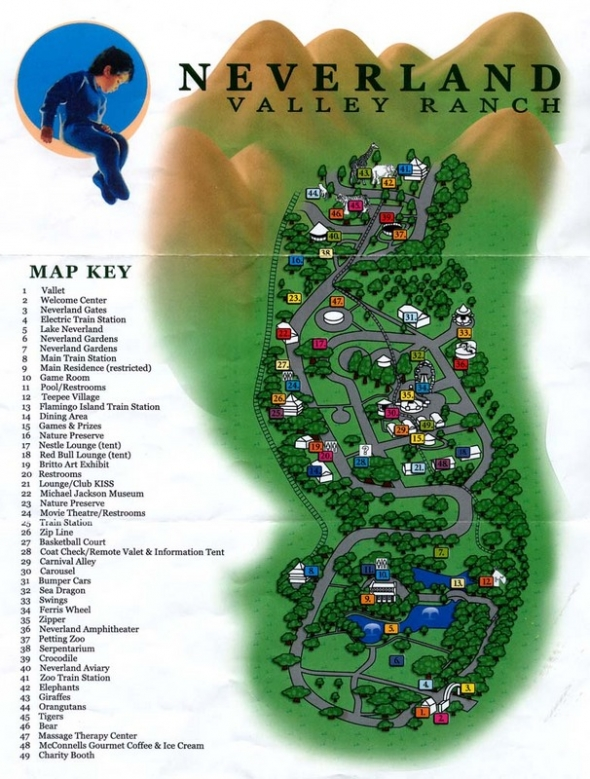 Neverland's map featuring 50 plus fairground rides and amenities.