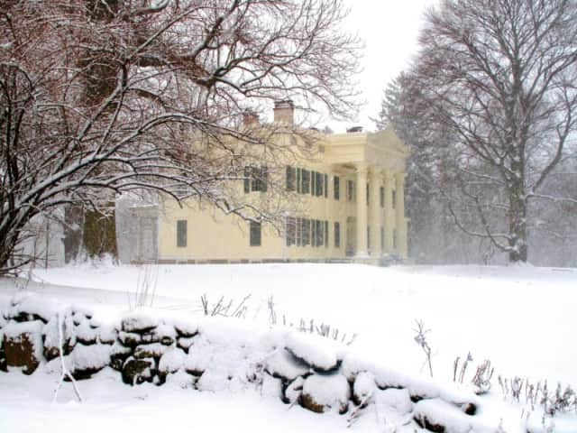 A snowy picture of the estate.