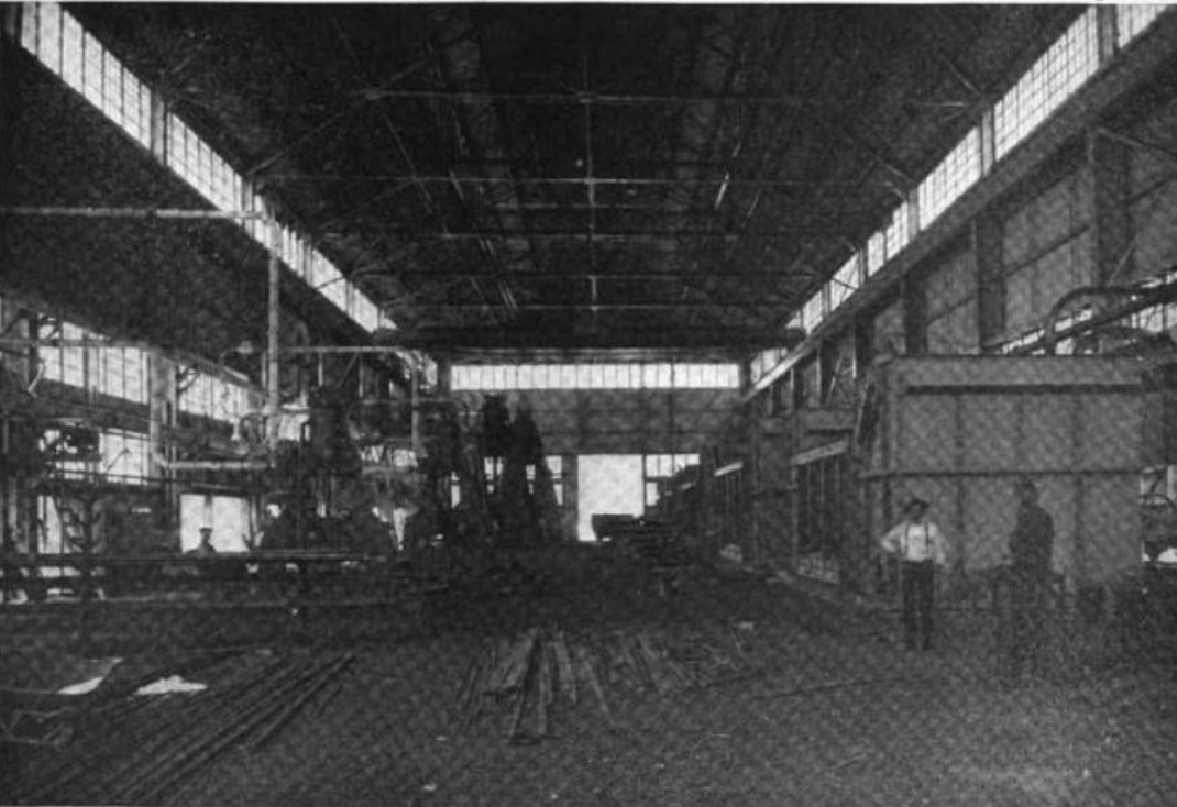 View of the plant's hammer shop and its furnaces, 1922