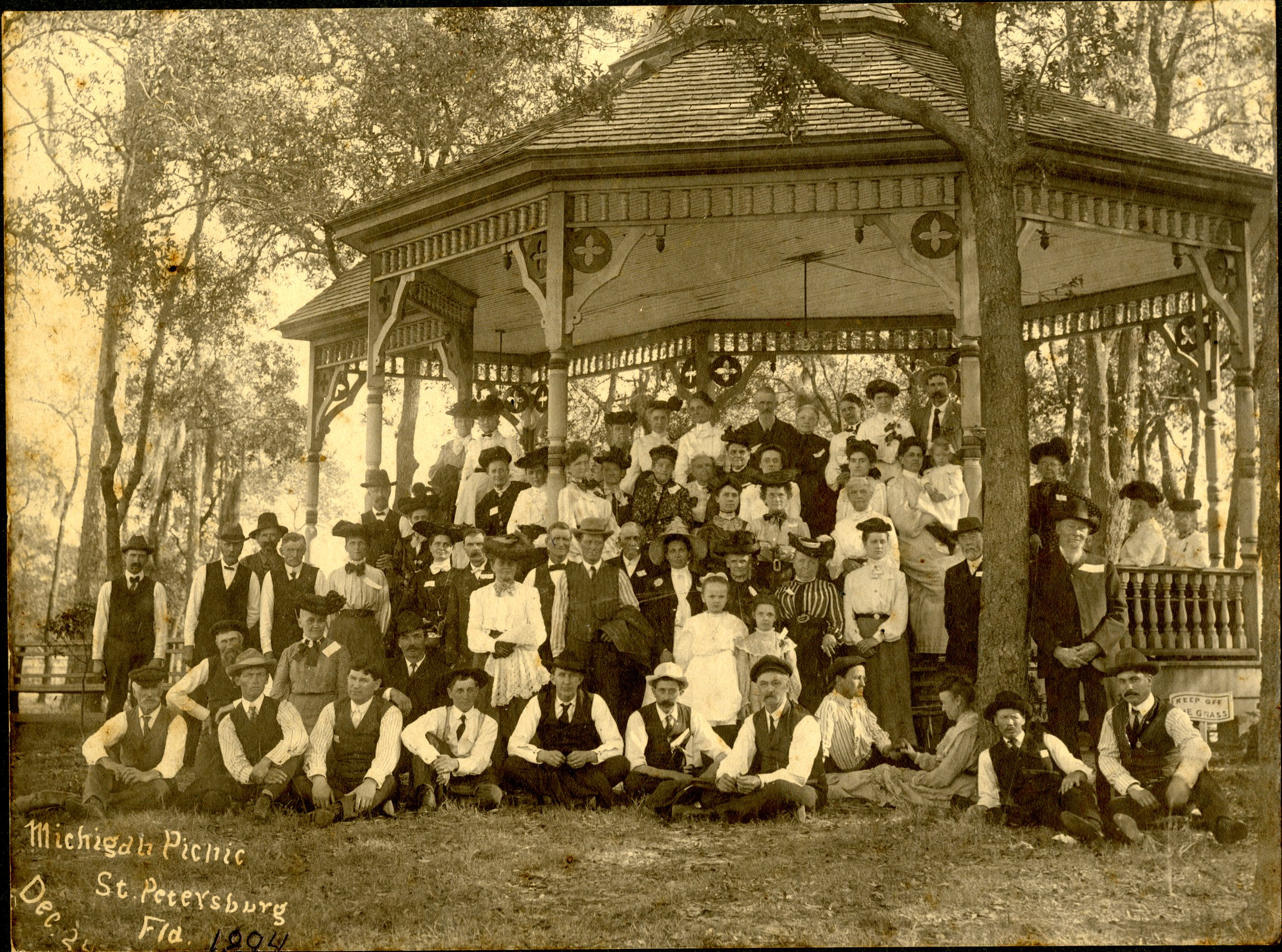 Michigan Picnic at the Williams Park bandstand in St. Petersburg, Florida, December 20, 1894. The Williams Park bandstand was built Park Improvement Association, comprised of leading women from the St. Petersburg community.