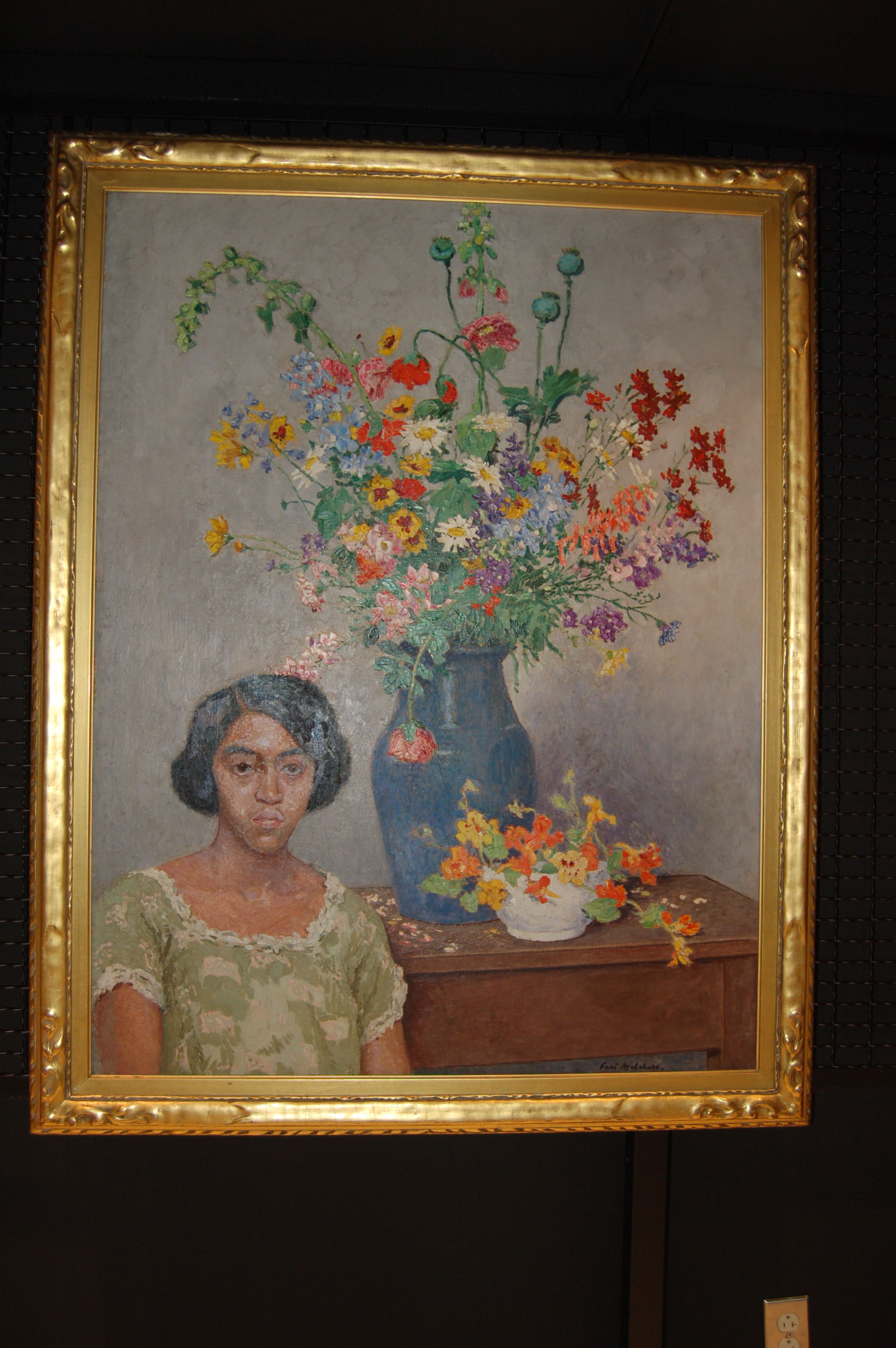Fanny Roots posing in Gari Melchers' painting, 'Color'