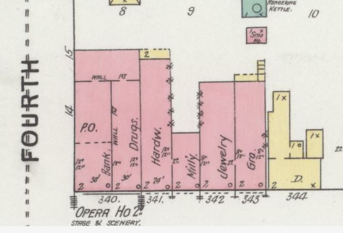 Depiction of the Rochester Opera House Block on 1895 Sanborn Fire Insurance Map of Rochester, showing Opera House on second floor.