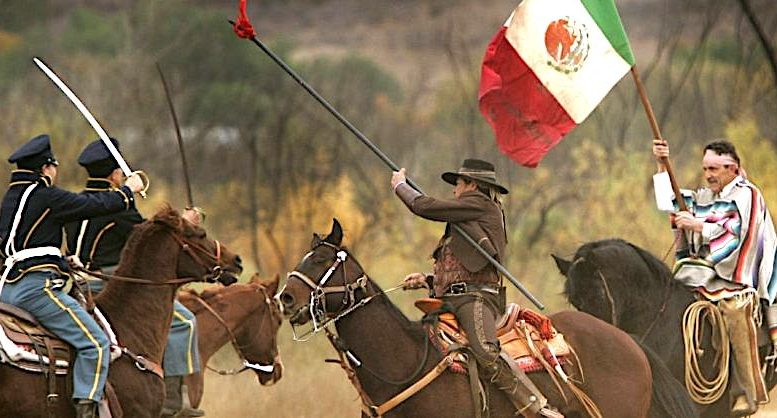 Reenactment of Mexican vs US cavalry