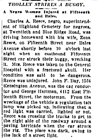 Newspaper article about a buggy crash involving Charles A. Reece and Zonia Reece. Charles Reece was an early sexton of the cemetery.