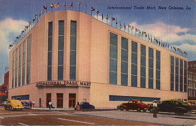 The old International Trade Mart building, founded and directed by Claw Shaw, which has since been demolished