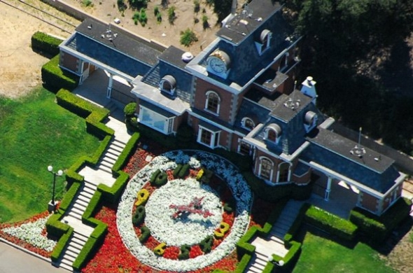 A birds eye view of the Neverland Valley Ranch.