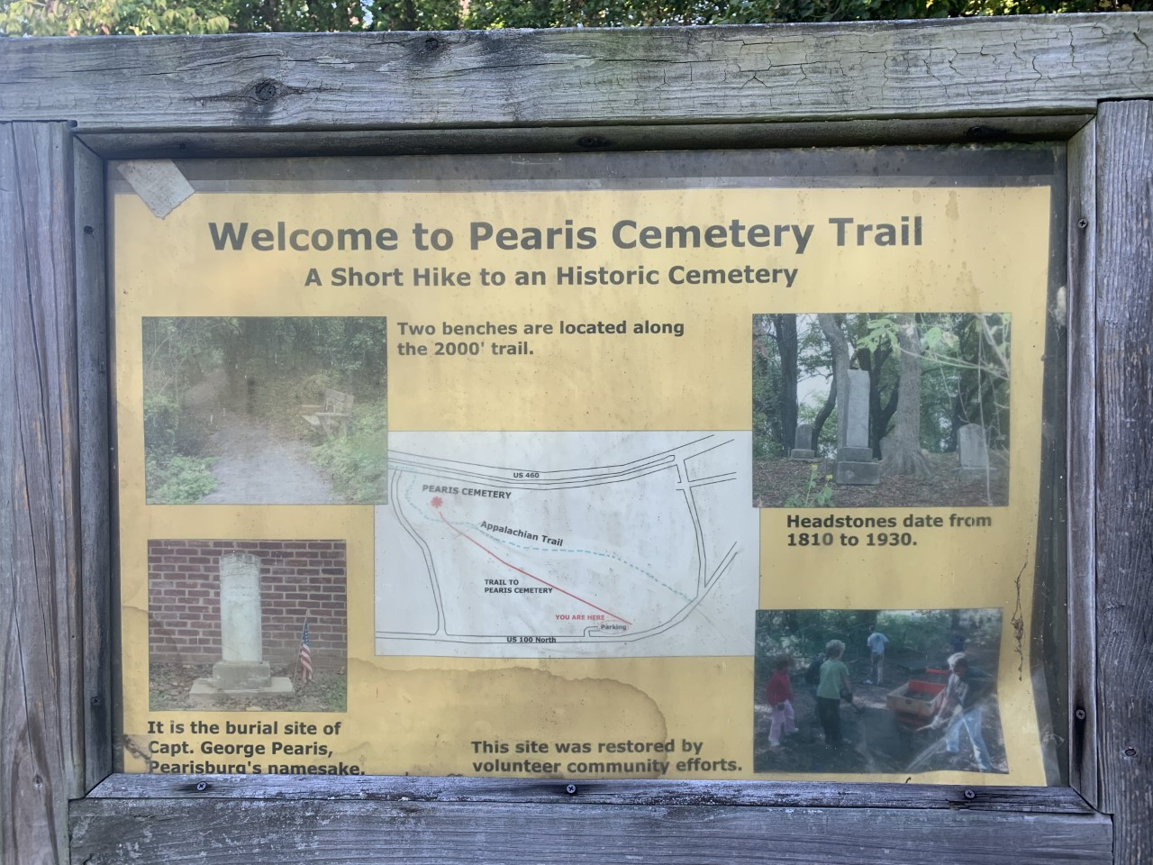 Sign located at the beginning of the Pearis Cemetery Trail