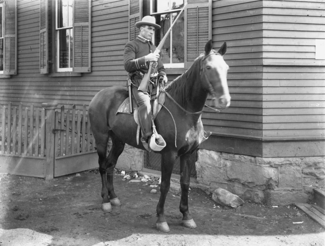 This photo shows a Baldwin Felts Agent on his horse at Glen Jean, Fayette County, 1902.
