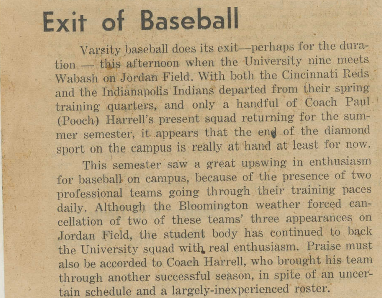 IDS article referencing 1943 Spring Training in Bloomington. Courtesy IU Archives.