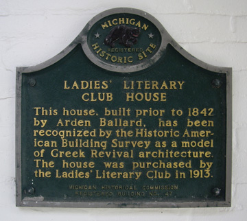 The Ladies' Literary Club House Michigan Historic Site Marker