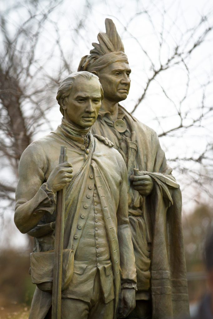 The statues of Thomas Spratt and King Hagler.