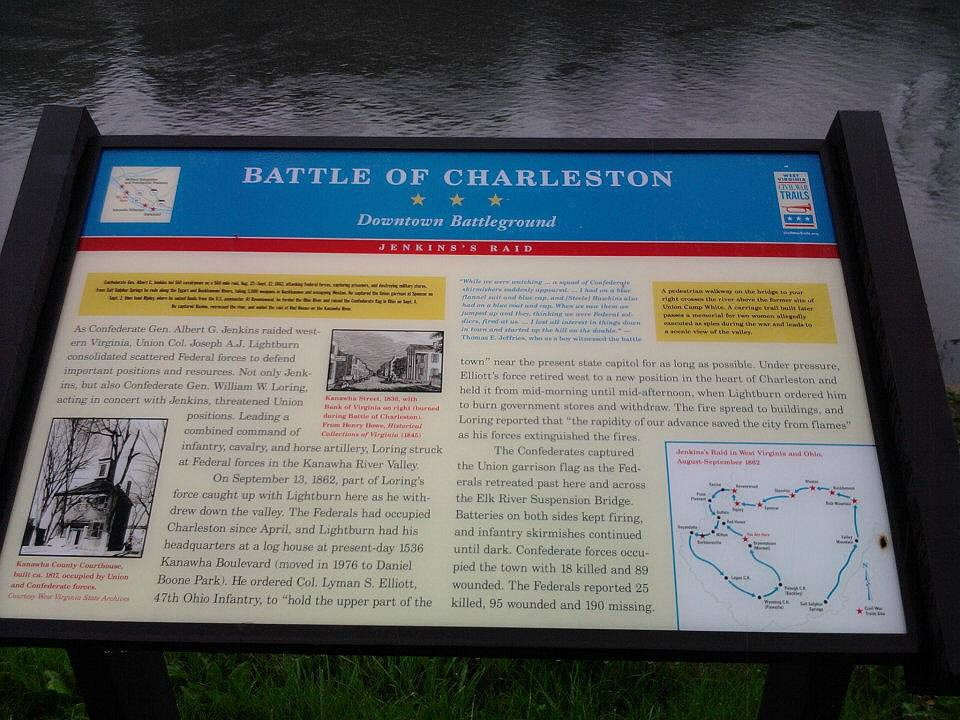 This historic marker located on the Kanawha River tells the story of the Battle of Charleston