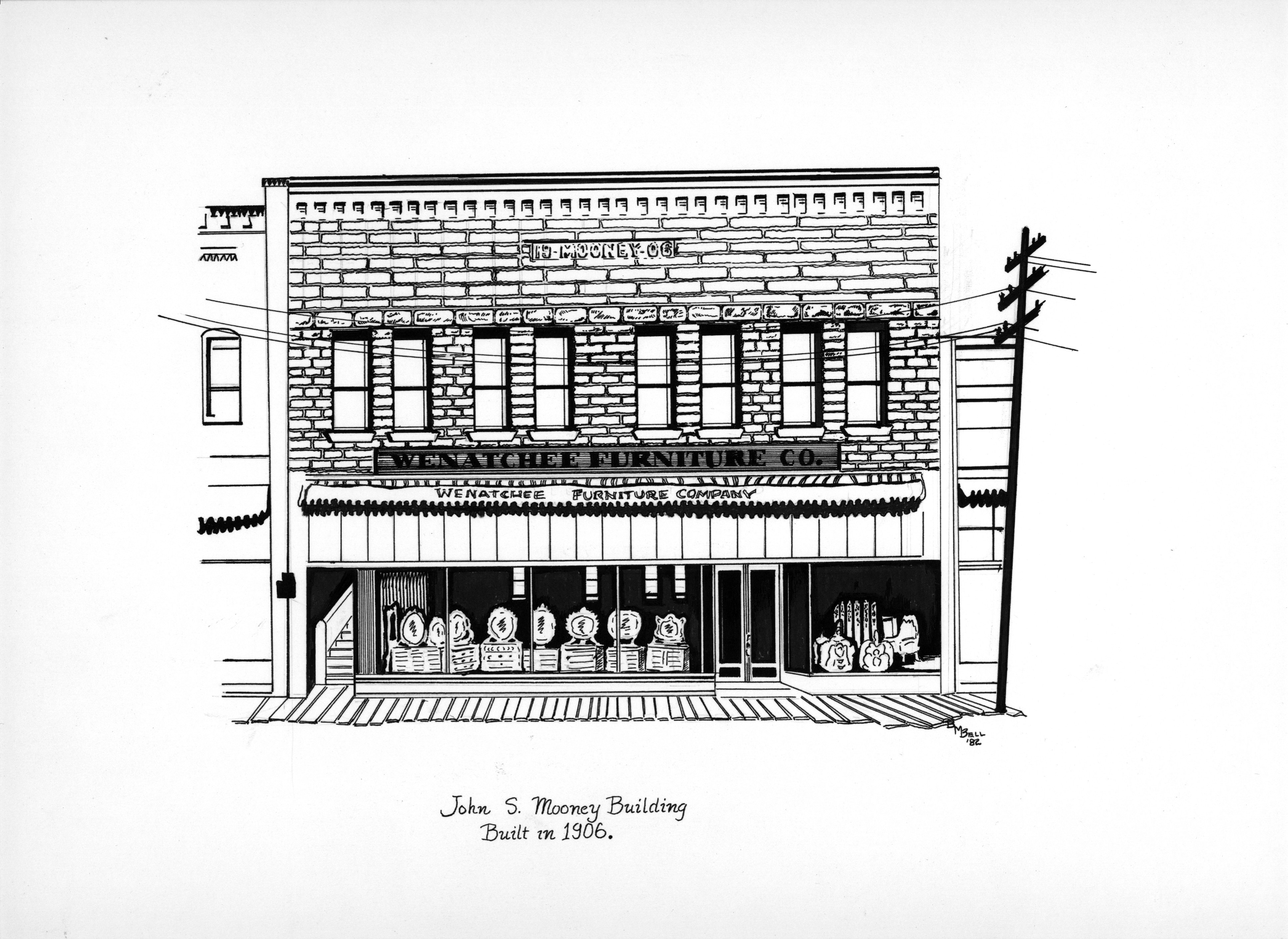 Illustration of the Mooney Building by artist Betty Bell.