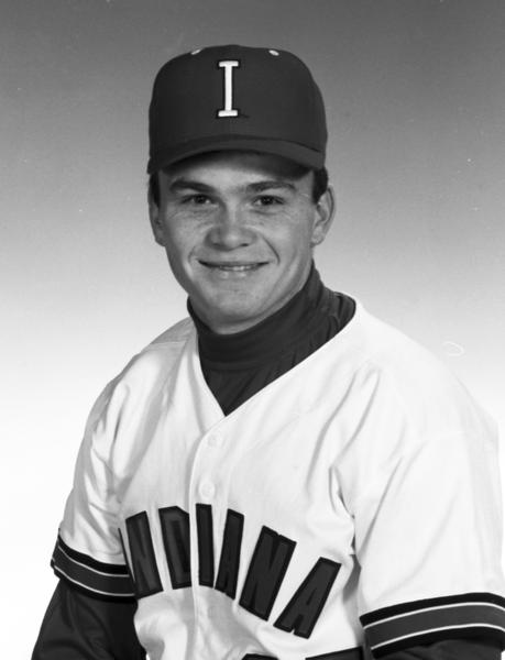 IU baseball's 1991 home uniform, seen here on player Mike Smith