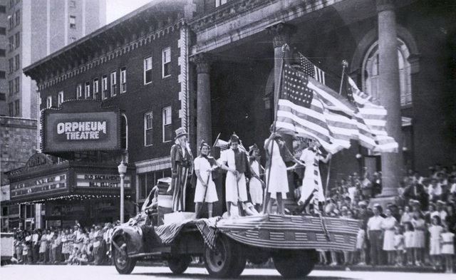 The Orpheum during a parade in 1947