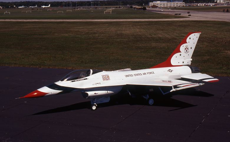 A photo of an F-16. Likely an early F-16A or a pre-production test plane.