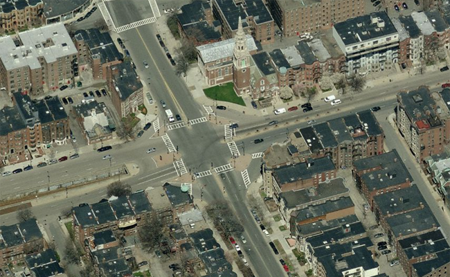 Aerial view of Audobon Circle, prior to its renovation