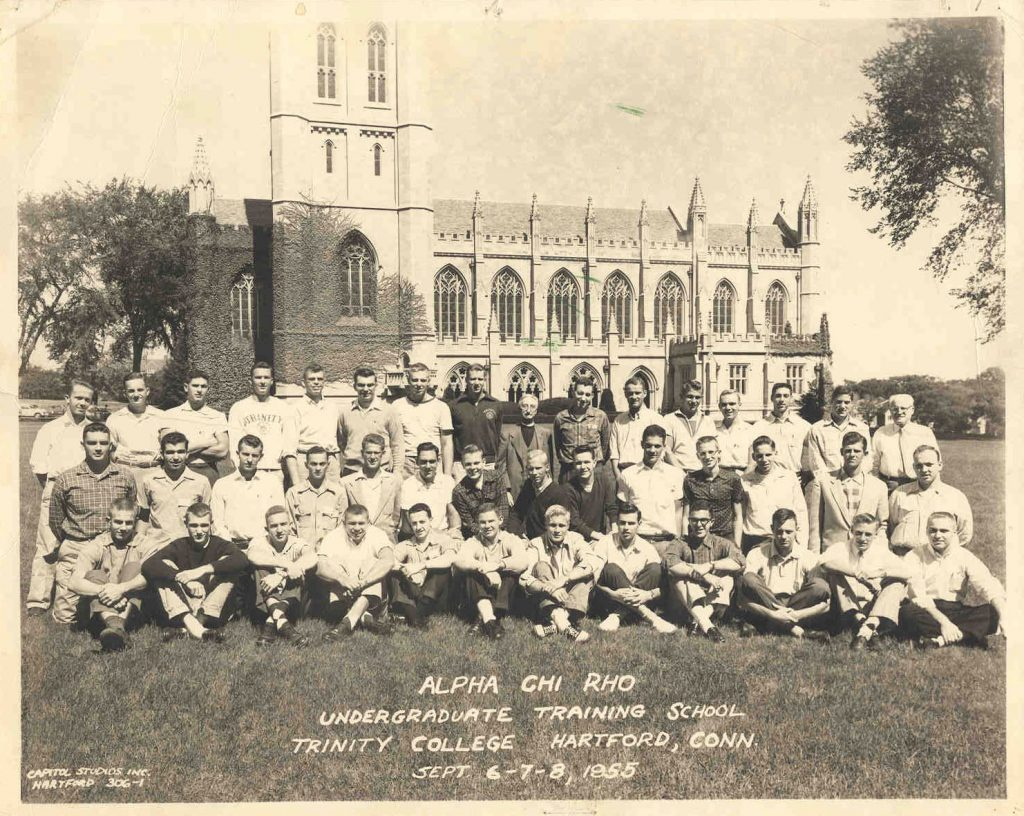 Alpha Chi Rho in 1955  in front of the Trinity College Chapel