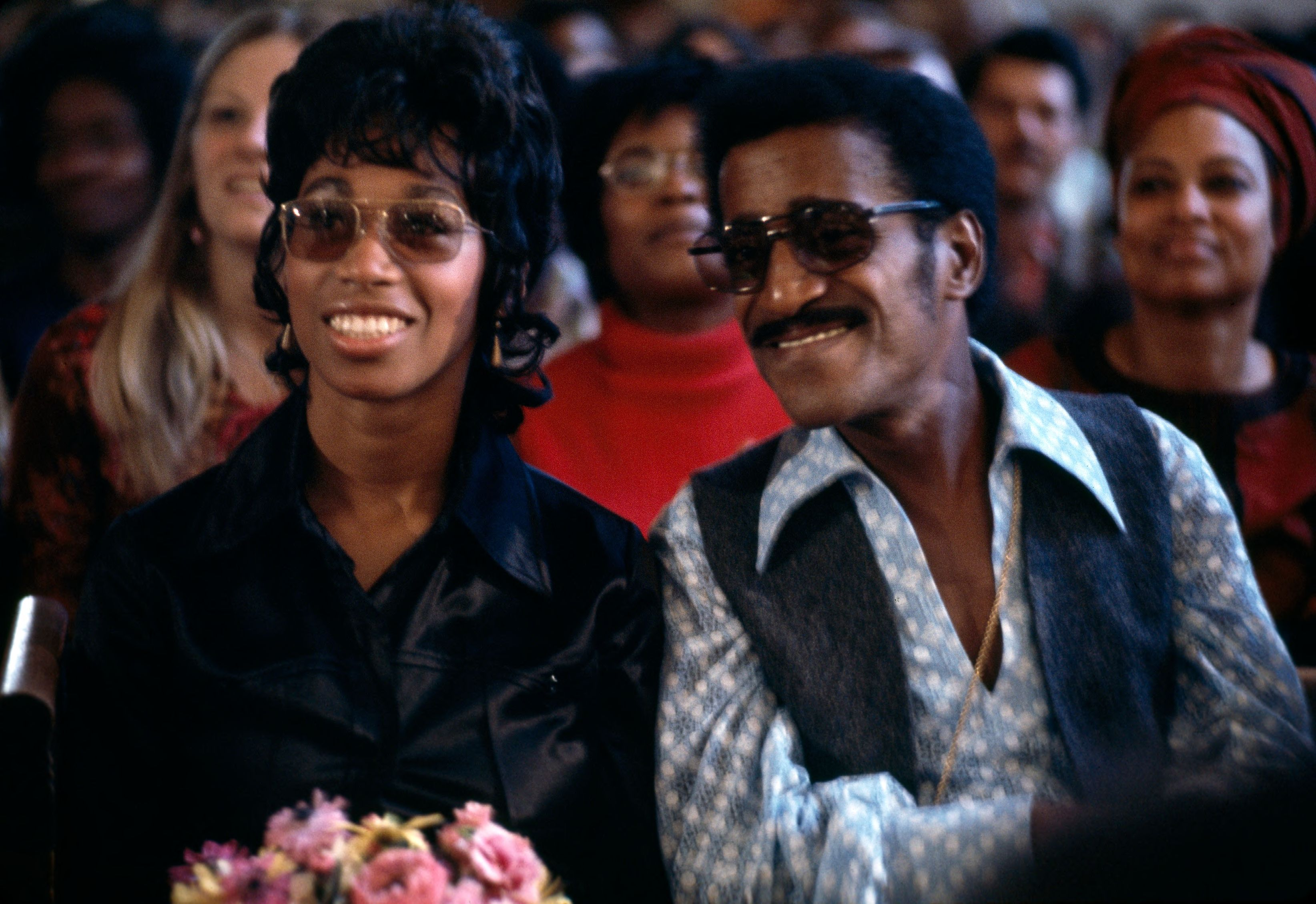 Sammy Davis Jr. and his wife at a Glide Memorial Church service in 1972
