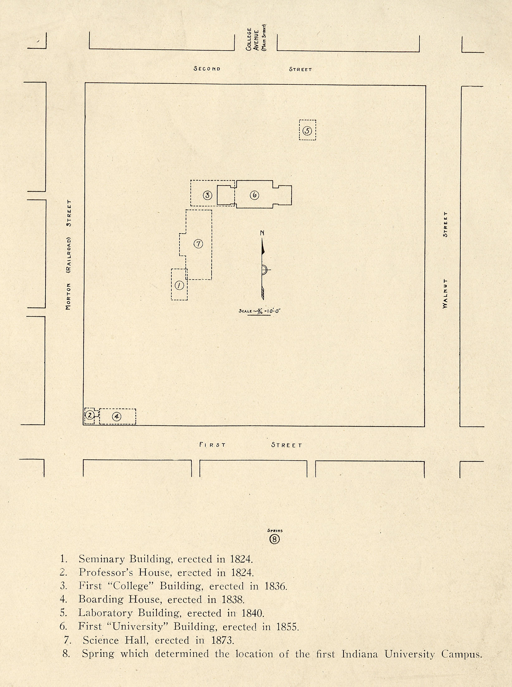 The original plan of the Seminary Square Campus. The baseball field was located in the southwest corner. College Avenue now runs through the old grounds which since have been converted.