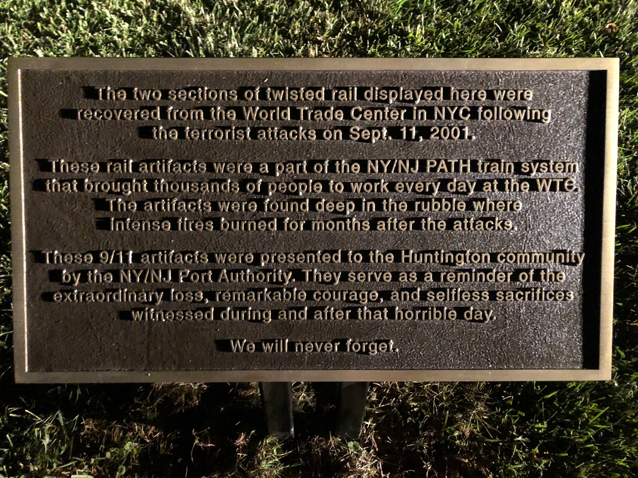 Ceremonial Plaque at Memorial (written by Tom Bowen)
