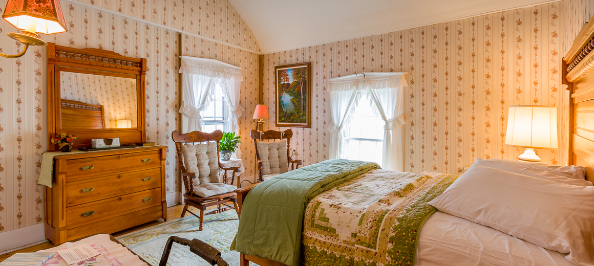 A typical guest room within the Wilson House.
