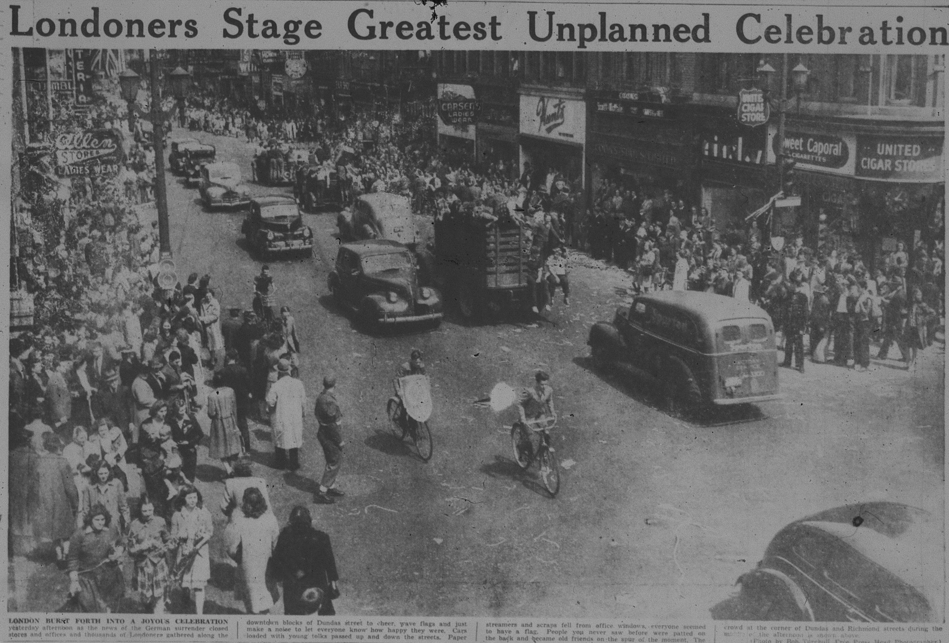 Photo of the Victory in Europe Celebrations in at Dundas and Richmond, May 8, 1945.