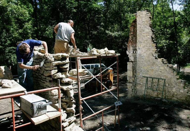 Some preservation work being carried out on the ruins in 2005