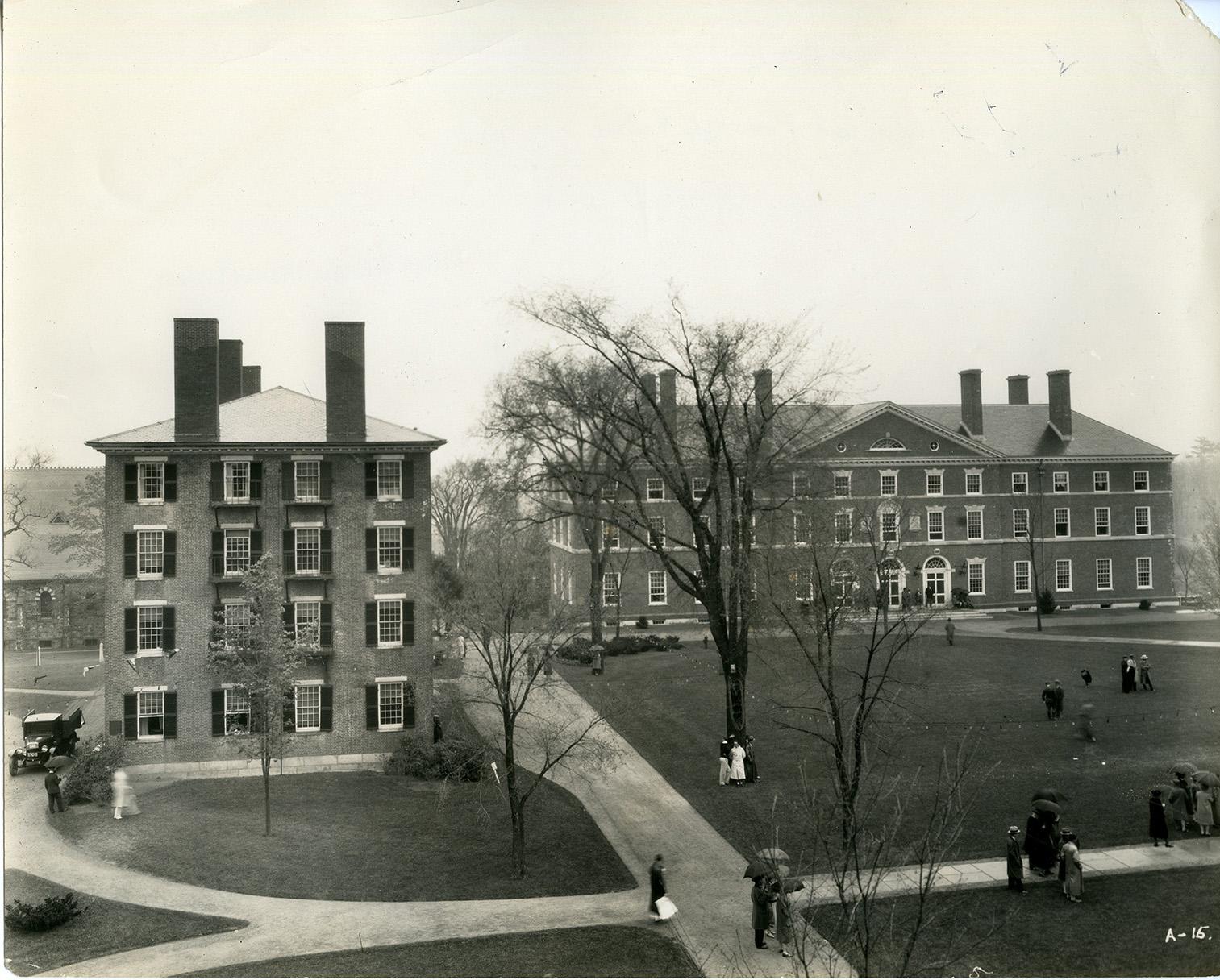 George Washington Hall, 1928. Photograph by George H. Davis. (Foxcroft Hall at left)