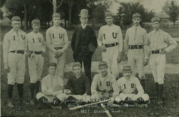 The 1887 Indiana Baseball Team wearing varying uniforms.