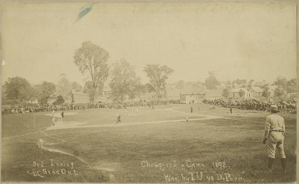 A scene captured from the 1892 Indiana Intercollegiate Athletic Association Baseball Championship played at the Athletic Park on the old Seminary Square Campus.